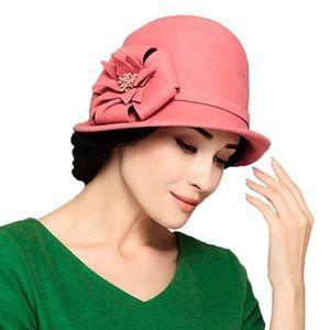 Accessories - Women's Wool Felt Flowers Bowler Hat